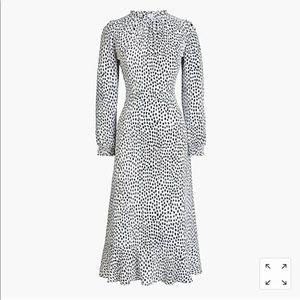 J. Crew   Ruffle Neck Dotted Midi Dress